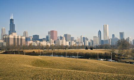 cna: Invierno panorama de Chicago, IL. Foto de archivo