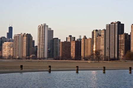 magnificent mile: Gold Coast in Chicago - sunrise. Stock Photo