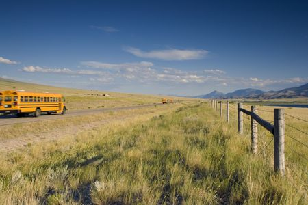 School bus on the road of the West. photo