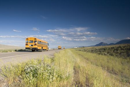 Blurred school bus on the road photo