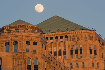 Moon over Merchandise Mart in Chicago photo