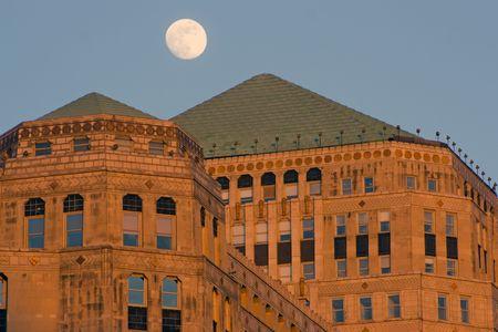 merchandise: Moon over Merchandise Mart in Chicago