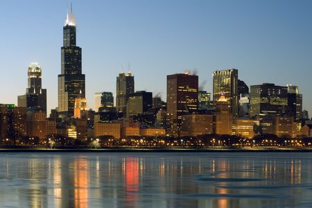 lake shore drive: Downtown Chicago reflected in frozen Lake Michigan. Stock Photo