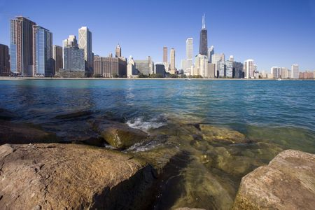 Rocks and waves  - Gold Coast in Chicago, Il. Stock Photo - 4072507