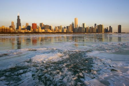 magnificent mile: Icy and cold sunrise in Chicago.