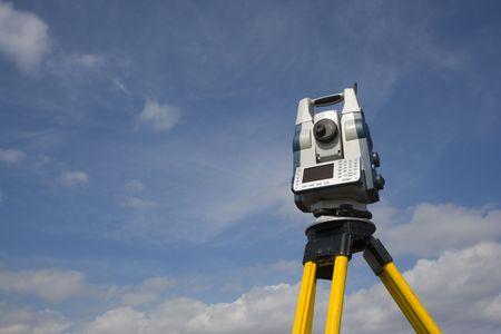 geodesy: Robotic station ready for surveying. Stock Photo