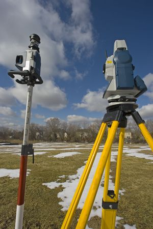 Surveying during the winter time photo