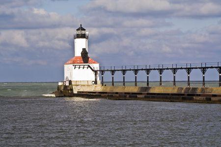 lake michigan lighthouse: Faro en la ciudad de Michigan, Indiana. Foto de archivo