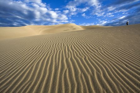 Walking the dunes - Great Sand Dunes National Park, Colorado. photo