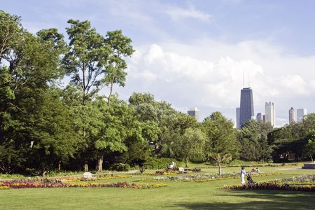 city park skyline: View from Lincoln Park - Chicago, IL.