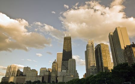 magnificent mile: Sunset at Gold Coast - Chicago, IL.