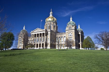 des: State Capitol of Iowa in Des Moines. Stock Photo