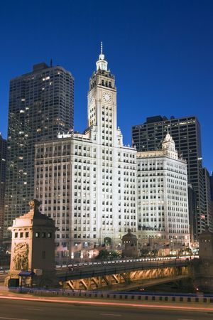 magnificent mile: Wrigley Building by night - Chicago, IL. Stock Photo