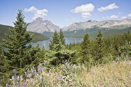 Vista of Glacier National Park in Montana photo