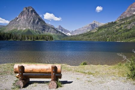 Bench with a view - Glacier National Park photo