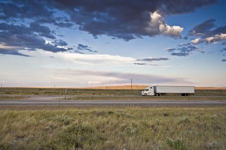 truck: Sunset Ride - blurred Semi-truck