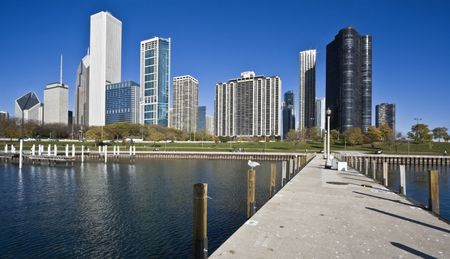 Chicago from Lake Michigan - morning time Stock Photo - 4073500