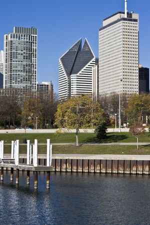 Chicago from Lake Michigan - morning time Stock Photo - 4073321