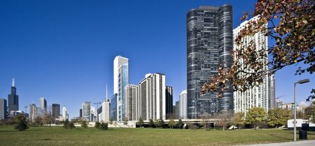 aon: Morning panorama of Chicago, IL. Stock Photo