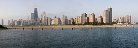 ave: Panoramic view of Chicago from North Ave beach - XXL Stock Photo