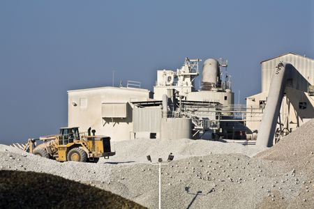 sand quarry: Cement factory seen in the morning