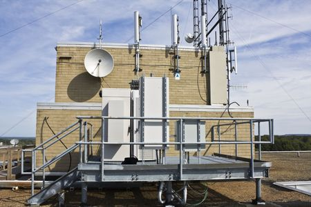 Cellular equipment on the platform installed on the rooftop