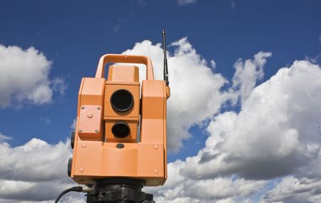 Total station under amazing clouds