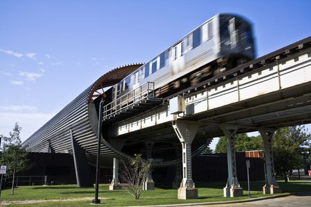 windy city: Tren en la estaci�n de IIT, Chicago, Il. Foto de archivo