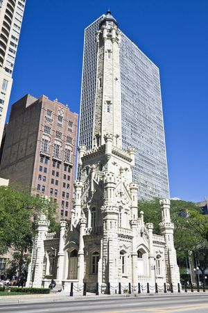 magnificent mile: Old Water Tower in Chicago, IL. Stock Photo