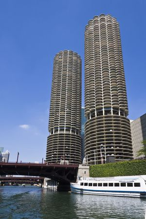 magnificent mile: Marina Towers Buildings in Chicago