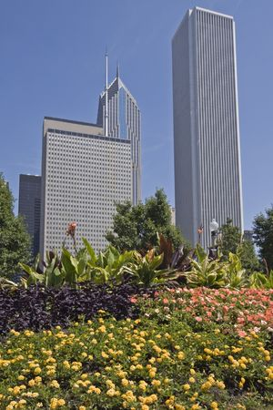 magnificent mile: Office buildings in Chicago, IL.