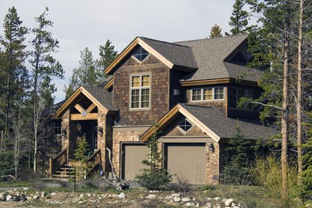 subdivisions: Mountain House in Colorado. Stock Photo