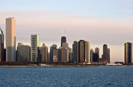 magnificent mile: First Rays of Sun in Chicago, IL. Stock Photo