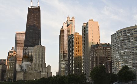 cna: Downtown Chicago dal lato nord - tramonto tempo, Archivio Fotografico