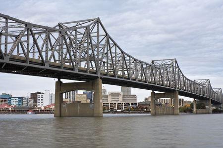 Bridge in Peoria, IL. Cloudy day. Stock Photo