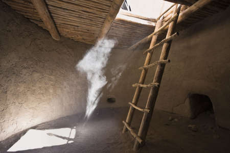 kiva: Inside Kiva - El Malpais National Monument - New Mexico Stock Photo