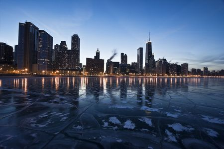 aon: Evening in Downtown Chicago, IL, Gold Coast. Stock Photo