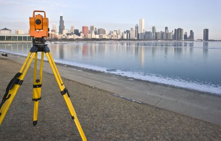 land surveying: Theodolite set in downtown Chicago