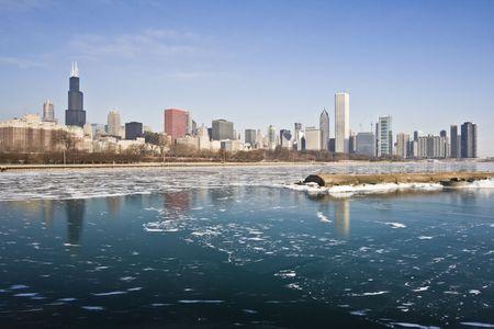 cna: Invierno en el centro de Chicago, IL.