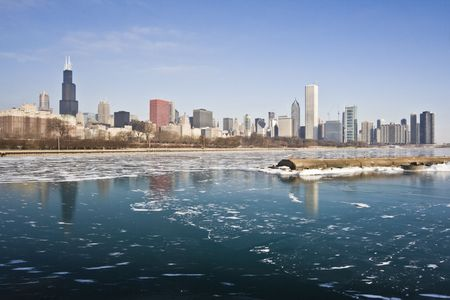 winter: Winter in Downtown Chicago, IL. Stock Photo