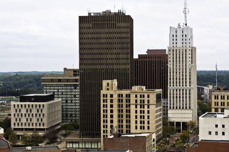overcast: View of Downtown Akron, Ohio .