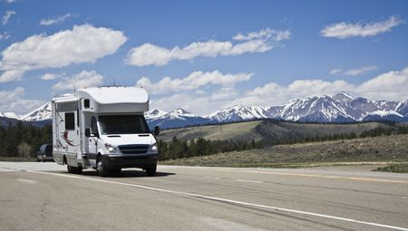 RV in mountains of Colorado. Stock Photo