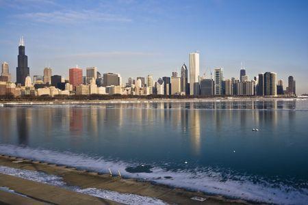 Frozen Lake Michigan in Chicago, IL. photo