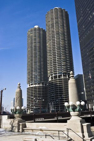 aon: Marina City in Chicago, IL. Stock Photo