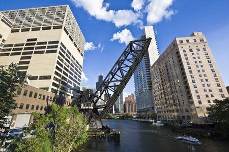 cna: Puente en el centro de Chicago, IL. Foto de archivo