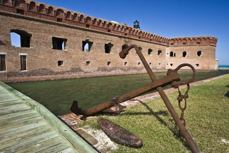 dry tortugas: Anchor by Fort Jefferson - Dry Tortugas National Park.