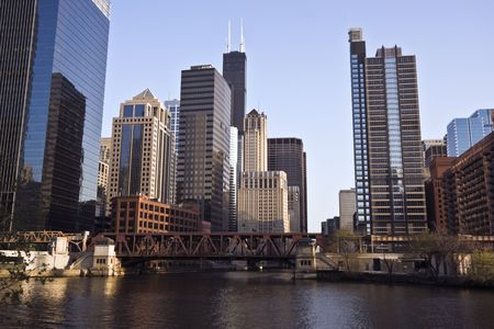 the sears tower: Chicago River - Downtown Chicago, IL. Stock Photo