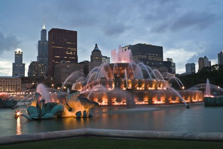 the sears tower: Chicago panorama with Buckingham Fountain in the foreground.