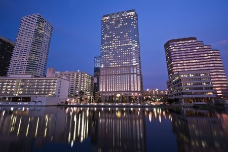 seen: Downtown Tampa seen evening time.