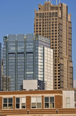 aon: Buildings of south Downtown in Chicago, IL.